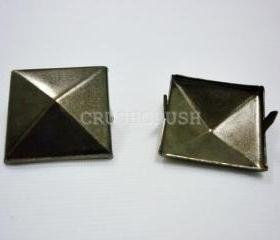10pcs 1 inch Gunmetal Pyramid STUDS Metal Punk ROCK Biker Spikes spots Heavy Duty S425