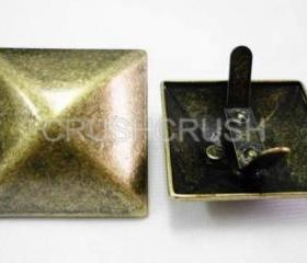 2x35mm Brass Pyramid Studs Clutchs Purse Goth Biker Studded Leather Craft S235