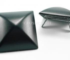 2x35mm Dark Black Pyramid Studs Bags PURSE SHOES Leather Craft S735