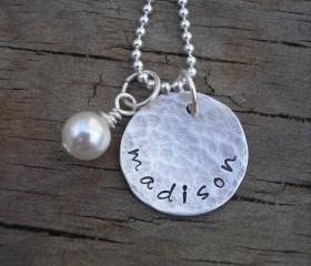 Personalized Hand Stamped Name Necklace - Single Name Sterling Silver Pendant - Rustic Finish