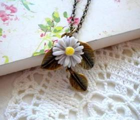 Leaf Necklace Sunflower Necklace Grey Necklace Sunflower Jewelry Flower Necklace