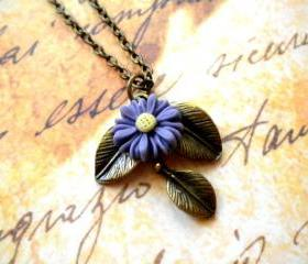 Leaf Necklace Sun Flower Necklace Vintage Necklace