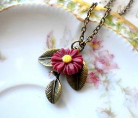 Leaf Necklace Sunflower Necklace Maroon Necklace Sunflower Jewelry Flower Necklace