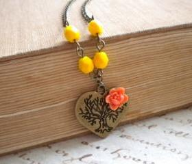 Tree Of Life Pendant Heart Pendant Tree Of Life Necklace Heart Necklace
