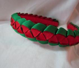 Woven Ribbon Holiday Headband for Girls