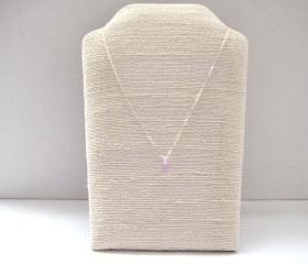 Sterling silver necklace with tiny violet glass droplet pendant - Lavender Kiss