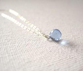 Sterling silver necklace with tiny royal blue glass droplet pendant - Ocean Jewel