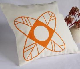 CUSHION handprinted - Minimalist design flower pillow cover