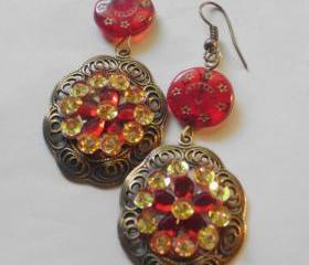 red and gold rhinestone earrings with oxidized brass pendants