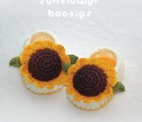 Sunflower Booties Crochet PATTERN (pdf)