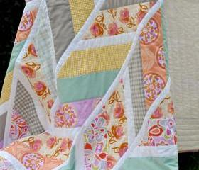 Lap / Throw Quilt - Pastel Herringbone - 'Lola'