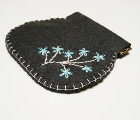 Flex frame Purse Felt Dark grey Hand embroidery flex case
