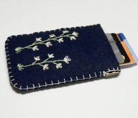 Flex frame Purse Dark blue felt Purse Wallet Case Cluth Pouch