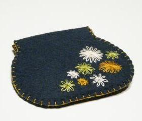 Flex frame Purse Blue flowers Wallet Cluth Pouch