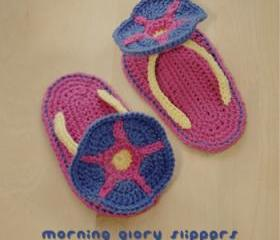 Morning Glory Baby Slippers Crochet PATTERN, SYMBOL DIAGRAM (pdf)