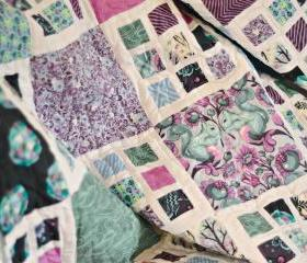 Lap / Throw Quilt - Lilac Pink & Blue Patchwork - 'The Birds & the Bees'