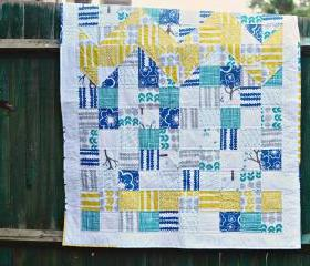 Lap / Throw Quilt - Blue & Yellow Patchwork - 'Blue Ridge Mountains'