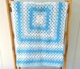 Granny Square Baby Blanket in Blue Ready to Ship