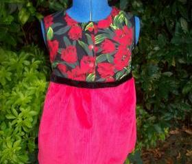 Girls red cotton and corduroy tulip dress
