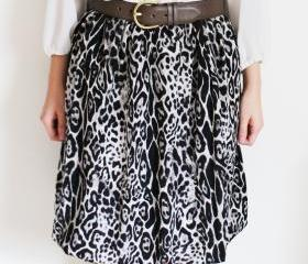 Leopard Print Skirt with Bubble Hem S, M