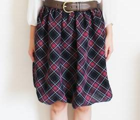 Plaid Bubble Hem Skirt S, M
