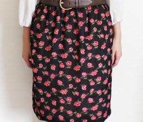 Floral Black Skirt with Bubble Hem, XS S