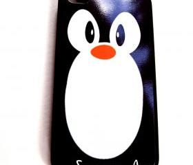 Penguin iPhone Case for 4 and 4S Model iPhones Black Rubber Case