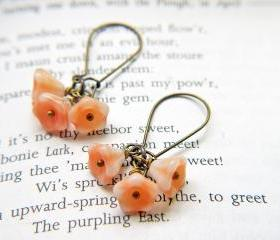 Cream And Peach Baby Bell Flower Earrings. Antique Brass Kidney Ear Wires