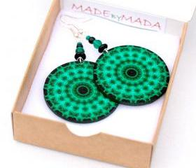 Fluo Emerald green mandala Earrings Round decoupage jewelry