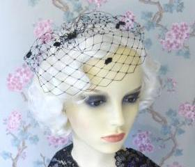 Mini Birdcage Veil, Black, White, Ivory, Dotty.
