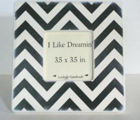 Black and ivory chevron picture frame