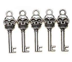 Tibetan Silver Skull Key Charms