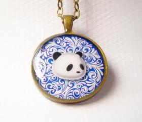 Panda Portrait Necklace - Animal Necklace - One of a Kind
