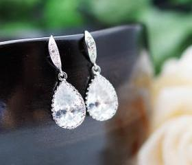Wedding Jewelry Bridesmaid Jewelry Bridal Earrings Bridesmaid Earrings Cubic Zirconia Tear drops Earrings
