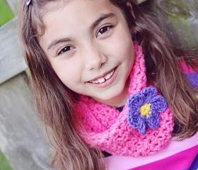 Girls - Crochet Cowl - Neckwarmer - Scarf - Bubble Gum Pink with Violet Flower