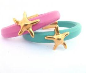Thick leather bracelet with a gold plated starfish charm,turquoise or hot pink with magnetic clasp