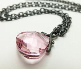 Crystal Pink Necklace Pink Jewelry Beaded Necklace Gun Metal Briolette Necklace