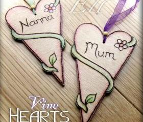Nature Hearts - personalised wooden and pyrographed
