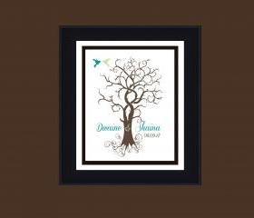 personalized Wedding tree, guestbook, finger print wedding signature tree 18x24 100 signatures