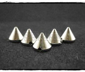 100pcs 6mm Silver Acrylic Cone Spikes Beads Charms Pendants Decoration X86