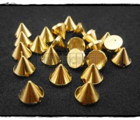 50pcs 8mm Acrylic Cone Spikes Beads Charms Pendants Decoration Gold-X52