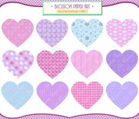 Hearts Clipart - Pink Purple Light Blue - DIY Projects - Cardmaking - Labels - Invitations - Personal and Commercial Use - 1376