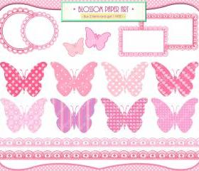 Baby Girl Butterflies - Pink - Baby Shower - Printables - Invitations - Labels - Borders - Scrapbooking - 1370
