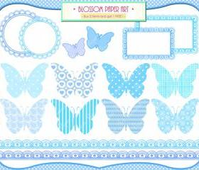 Baby Boy Clipart - Butterflies - Baby Shower - Printables - Labels - Borders - Scrapbooking - 1371