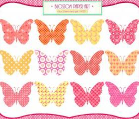 Butterflies Clipart - Pink - Orange - Yellow - Invitations - Cardmaking - DIY Projects - Personal and Commercial Use - 1375