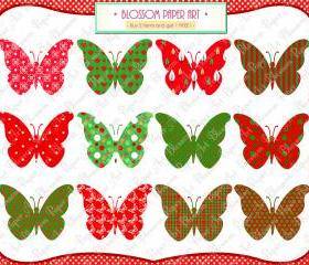 Christmas Clipart - Butterflies - Printables - DIY Projects - Personal and Commercial Use - 1372