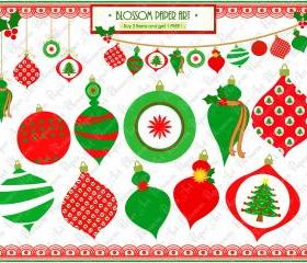 Christmas Clipart - Ornament - Bunting - Set of Ornaments - DIY Projects - Invitations - Place Cards - Labels - 1378