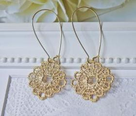 Matte Gold Lace Earrings. Simple Dangle Earrings. Modern. Romantic