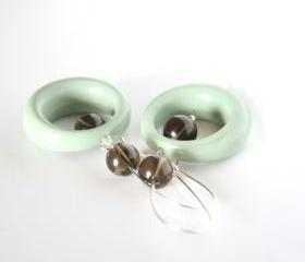sage and smokey quartz earrings - retro vintage lucite