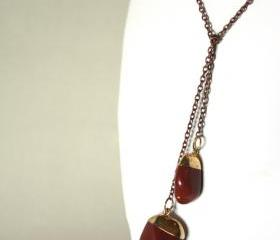 brown stones lariat necklace in copper and gold - casual with nuggets natural gemstone - copper boho style fall fashion